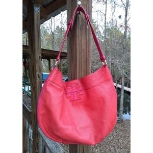 Tory Burch Stacked T Hobo Bag Pebbled Leather Red